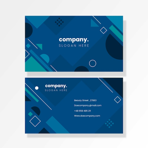 Abstract classic blue business card template set Free Vector
