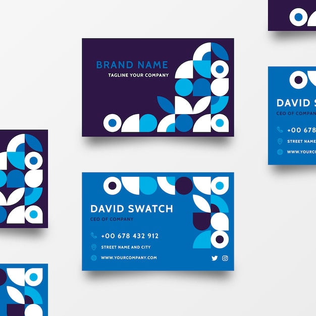 Abstract classic blue business card template theme Free Vector