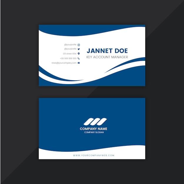 Абстрактный классический синий шаблон визитной карточки Premium векторы