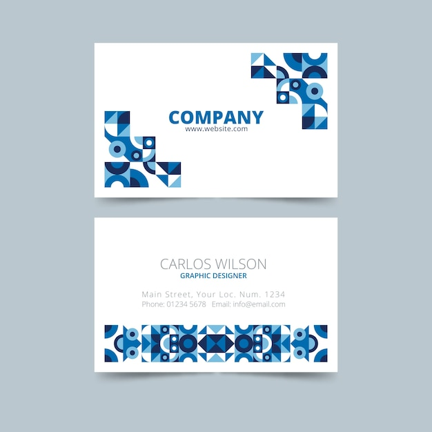 Abstract classic blue business card template Free Vector