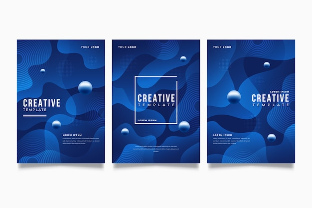 Abstract classic blue flyer template Free Vector