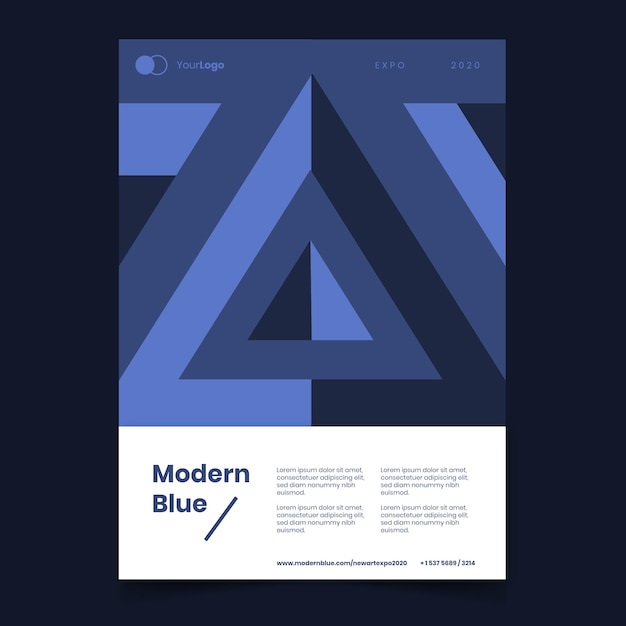 Abstract classic blue poster template Free Vector