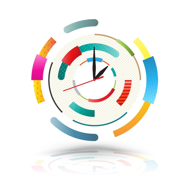 Abstract clock colourful. Premium Vector