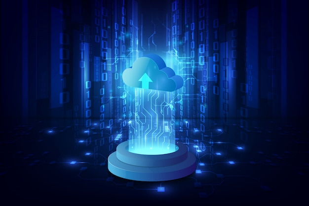 Abstract cloud technology system sci fi background Premium Vector