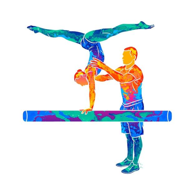 水彩のスプラッシュから体操ビームでバランスをとるように若い体操選手を訓練する抽象的なコーチ Premiumベクター