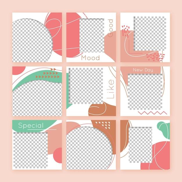 Raccolta astratta di post di feed di puzzle di instagram Vettore gratuito
