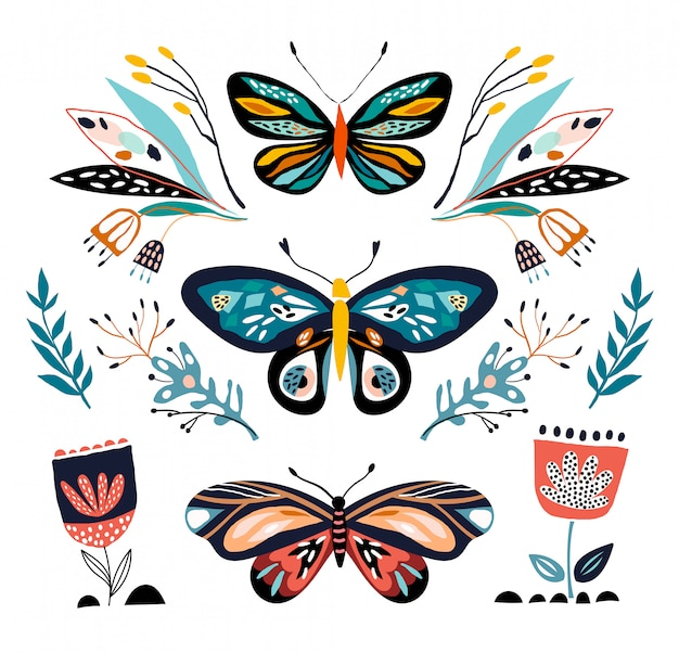 Abstract collection with different butterflies and plants, isolated Premium Vector