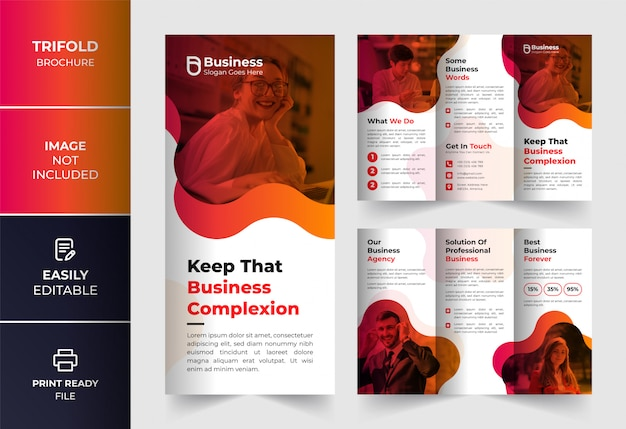 Abstract color corporate business trifold brochure design template Premium Vector