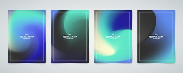 青と緑のホログラムメッシュデザインカバーセットテンプレートの抽象的なカラーデザイン。 Premiumベクター