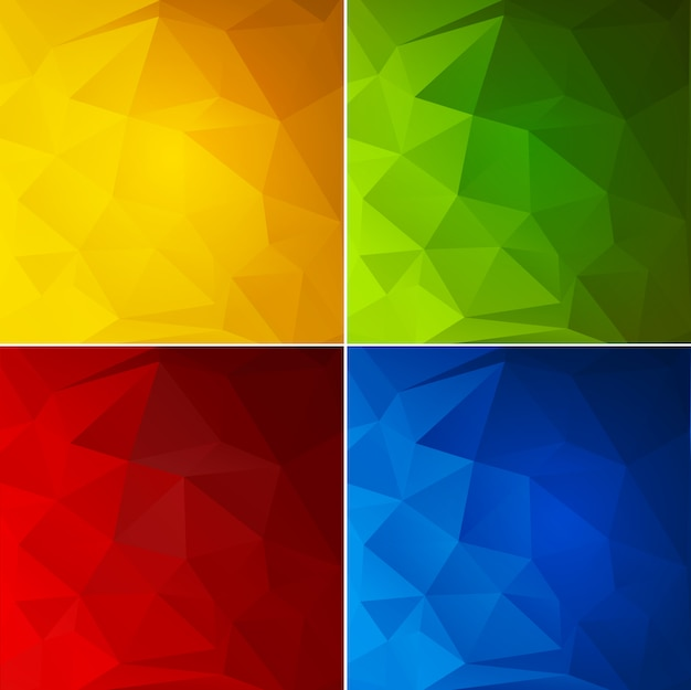 Abstract color geometric background set Premium Vector