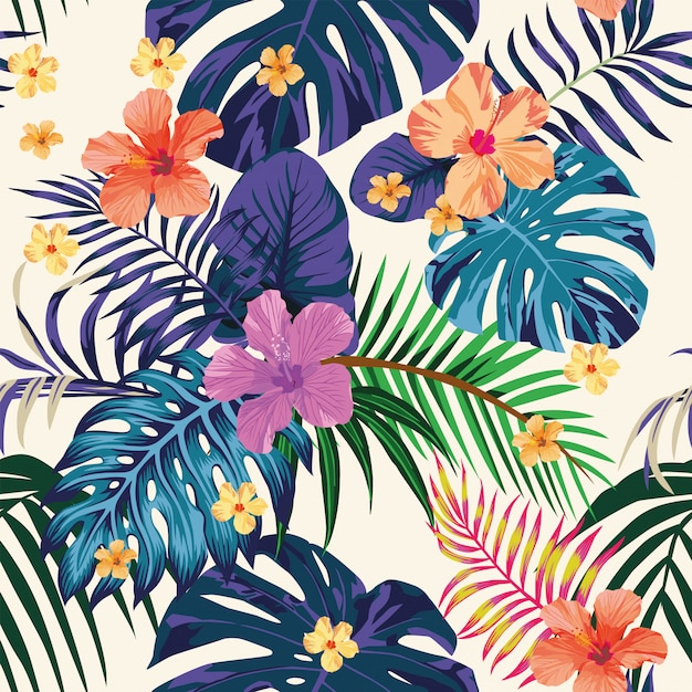 Abstract color tropical pattern seamless light Premium Vector