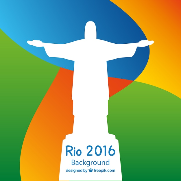 Abstract colored background with christ of redeemmer  silhouette Free Vector