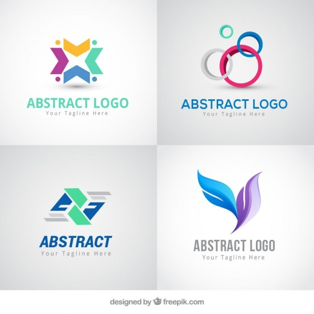 Abstract colored logos in modern style Free Vector