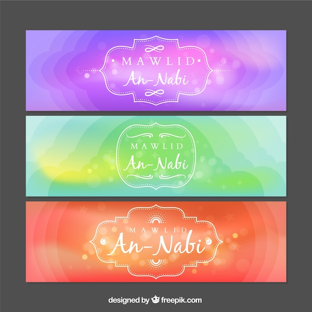 Abstract colored mawlid banners Premium Vector