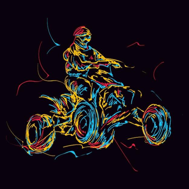 Abstract colorful atv rider Premium Vector