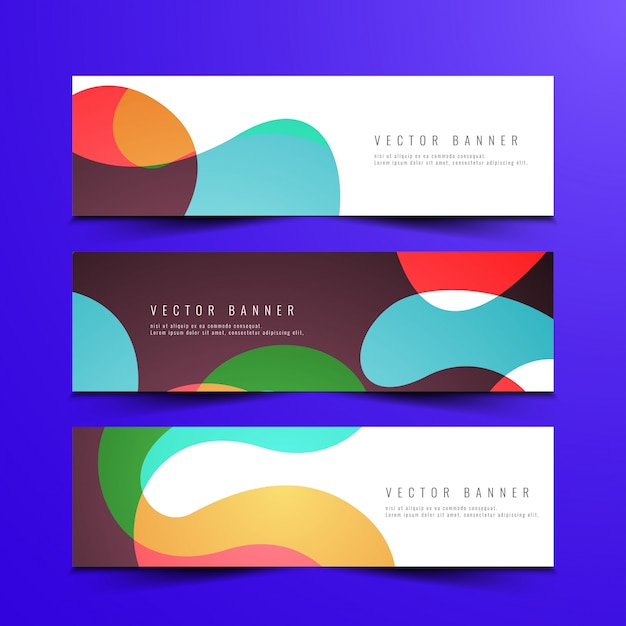 abstract colorful banners design set vector free download