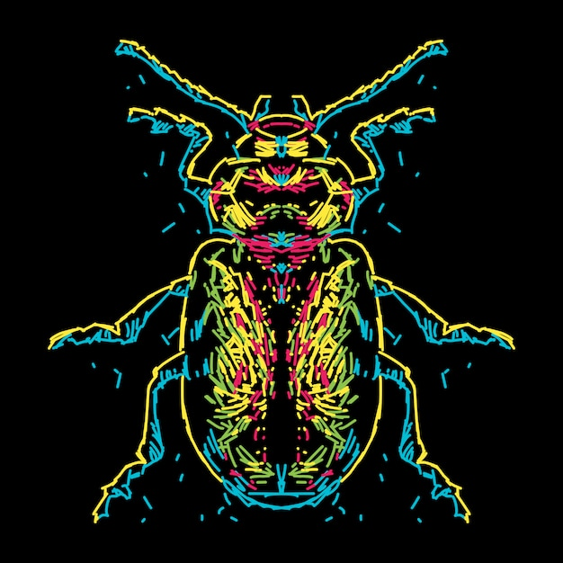 Abstract colorful beetle illustration Premium Vector