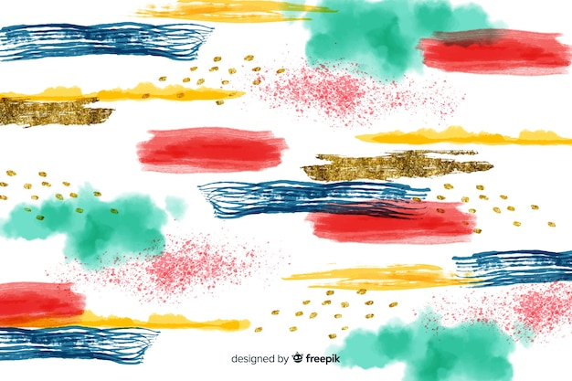 Abstract colorful brush strokes background Free Vector