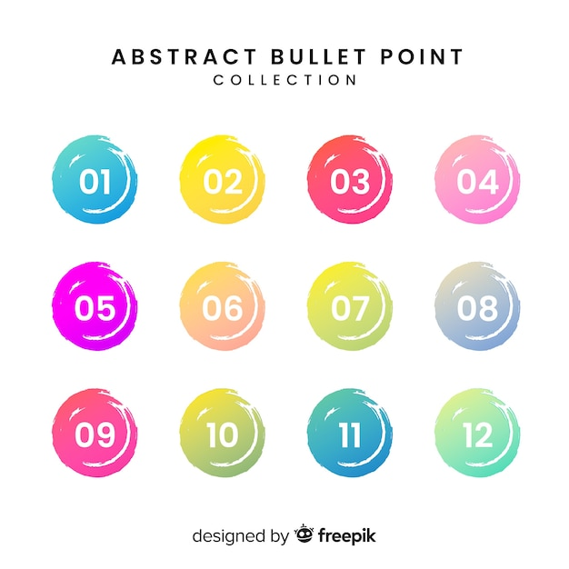 Abstract colorful bullet point collection Free Vector
