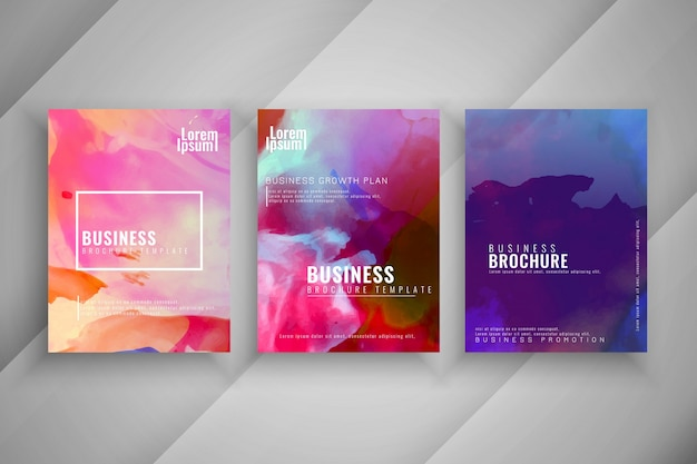 Abstract colorful business brochure design set Free Vector