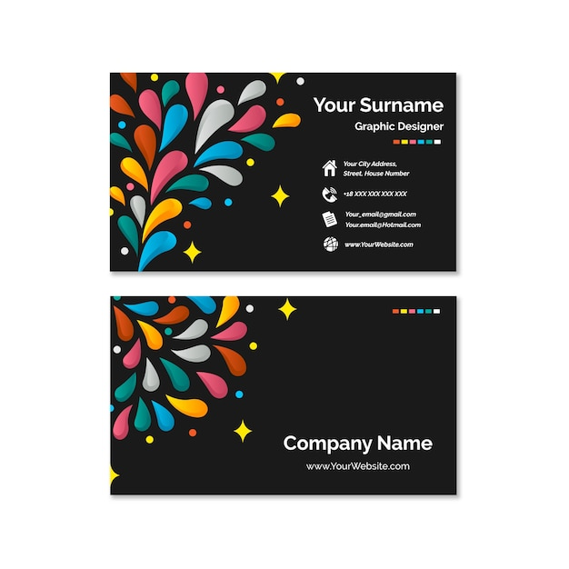 Abstract colorful business card set Free Vector