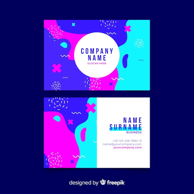 Abstract colorful business card template set Free Vector