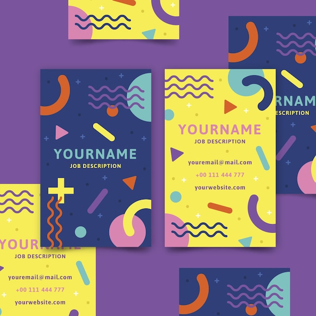 Abstract colorful business card template with lines and shapes Free Vector