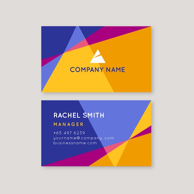 Abstract colorful business card template Free Vector