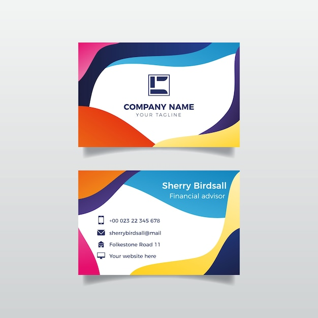 Abstract colorful business card template | Free Vector