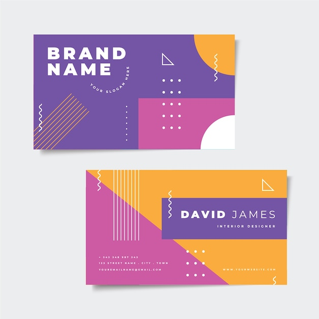 Abstract colorful business card theme Free Vector