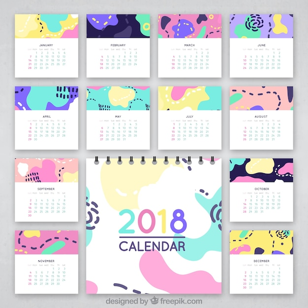 Abstract colorful calendar 2018 Vector | Free Download
