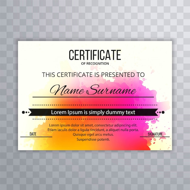 Abstract colorful certificate template design background Vector ...