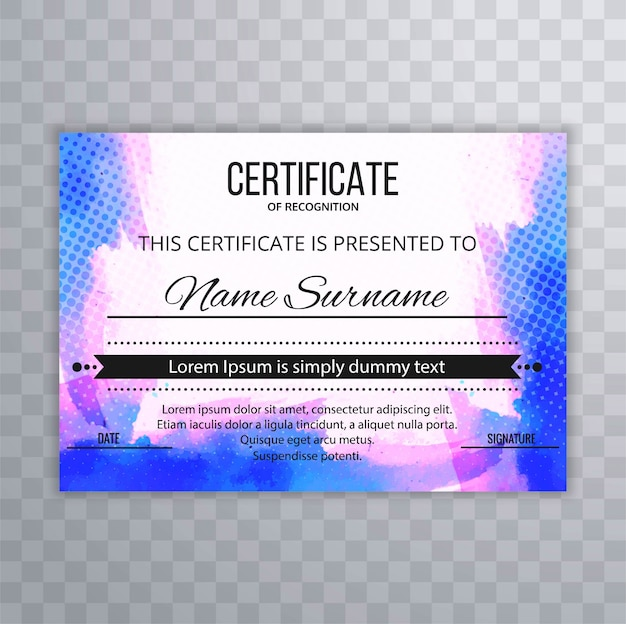Abstract colorful certificate template design vector Vector ...