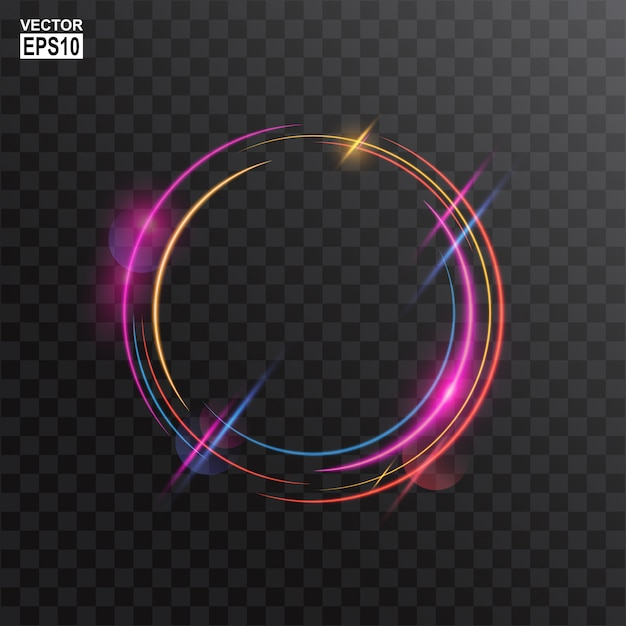 Abstract colorful circle light frame background Premium Vector