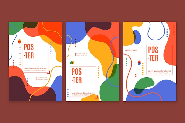 Abstract colorful cover collection design Free Vector