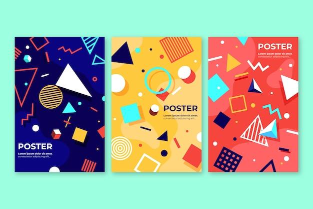 Абстрактная красочная коллекция обложек Бесплатные векторы