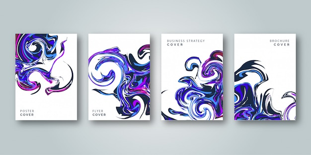 Abstract colorful cover template set Premium Vector