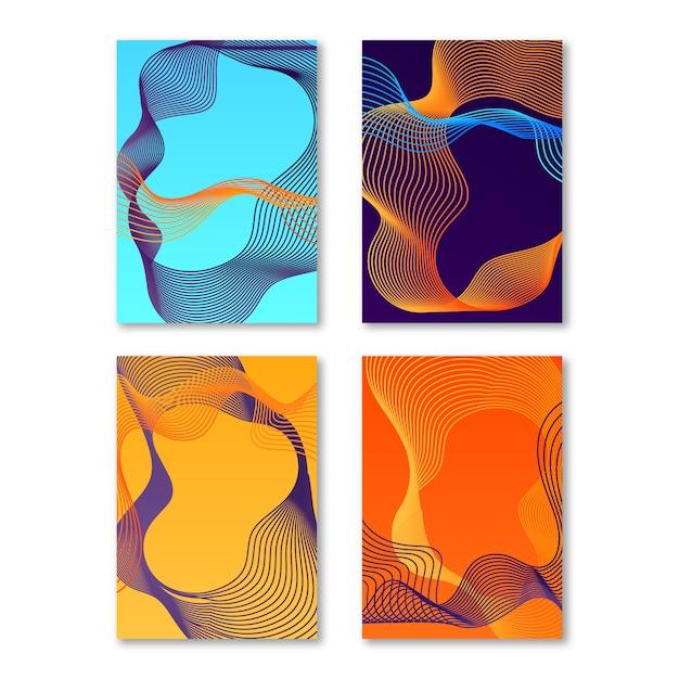 Абстрактные красочные обложки Бесплатные векторы