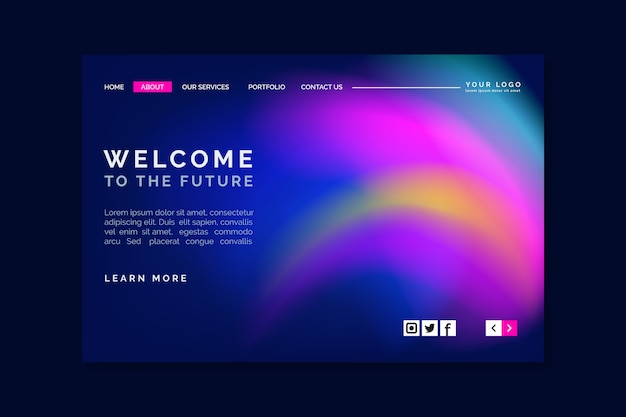 Abstract colorful delusion landing page template Free Vector