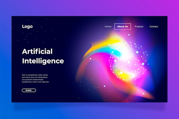 Abstract colorful delusion template landing page Free Vector