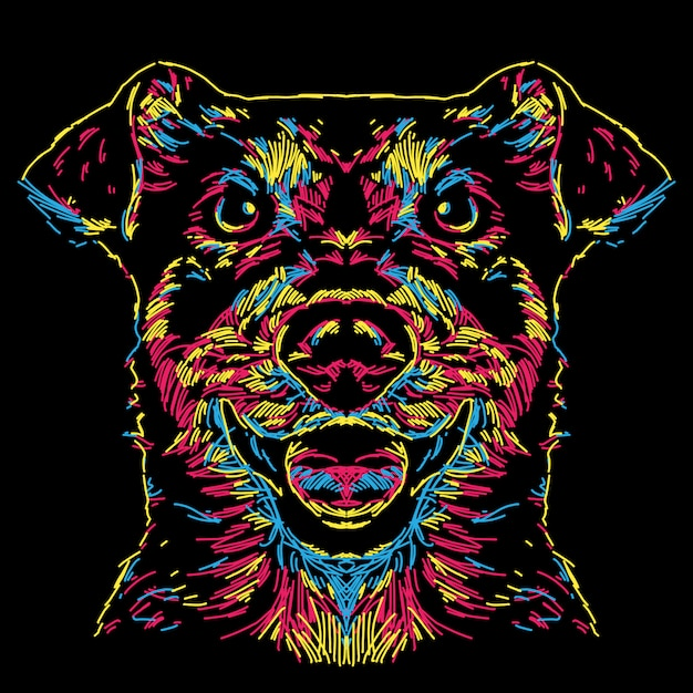 Abstract colorful dog face illustration Premium Vector