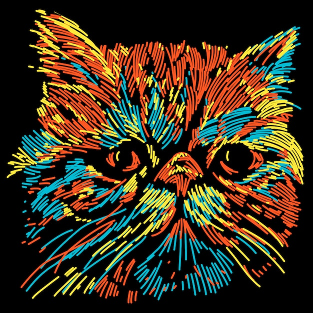 Abstract colorful flat nose cat illustration Premium Vector