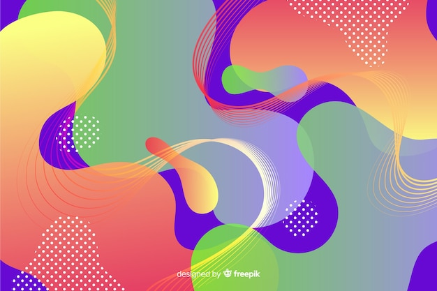 Abstract colorful flow shapes background Free Vector