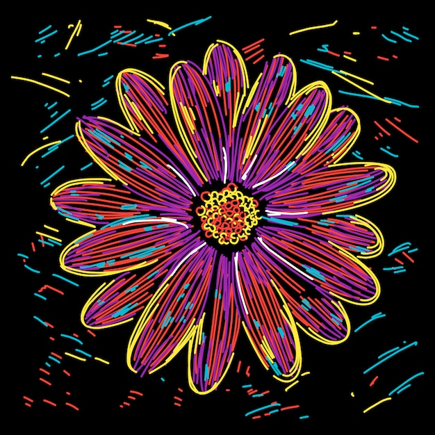 Abstract colorful flower illustration Premium Vector