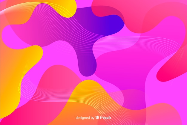 Abstract colorful flowing shapes background Free Vector