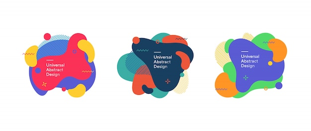 Набор абстрактных красочных жидких фигур Бесплатные векторы