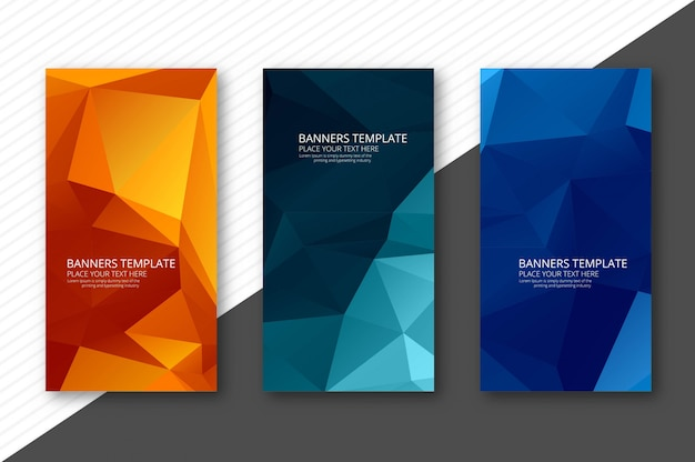 Abstract colorful geometric polygon banners Premium Vector