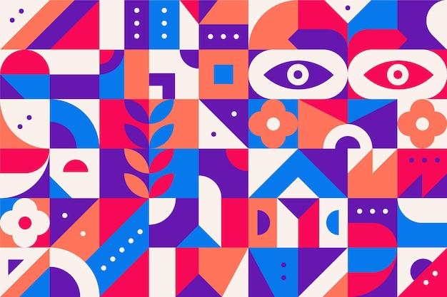 抽象的なカラフルな幾何学的形状フラットデザイン 無料ベクター