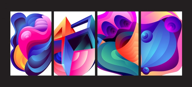 Abstract colorful gradient fluid background set. Premium Vector