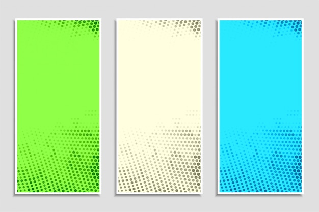 Abstract colorful halftone banner set Free Vector